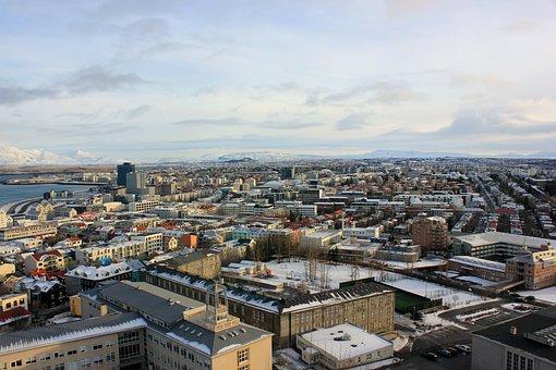 City, Rooftop, Ariel, Reykjavik, Iceland, Architecture