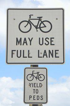Bike Lane, Sign, Outdoors, Signage, Bicycle, Road