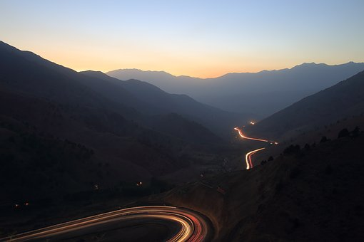 Mountains, Sunset, Serpentine, Road, Sky