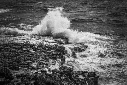 Rocky Coast, Waves, Coast, Sea, Spray, Foam, Crash