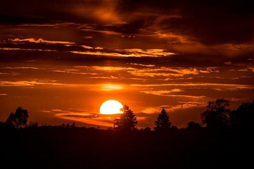 Sunset, Setting Sun, Sun In The Clouds, Sun
