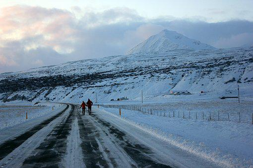 Road, Mountain, People, Sky, Ice, Nature, Person, Man