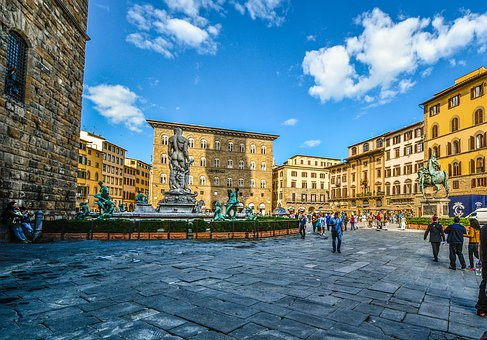 Florence, Firenze, Piazza, Statue, Square, Blue, Sky