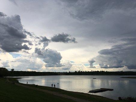 Reservoir, Storm, Saxony, Thunderstorm, Landscape