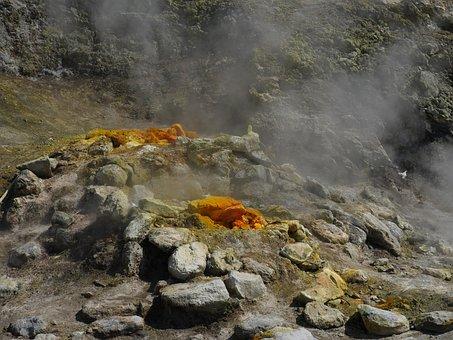 Fumaroles, Volcanism, Steam, Sulfur, Hot