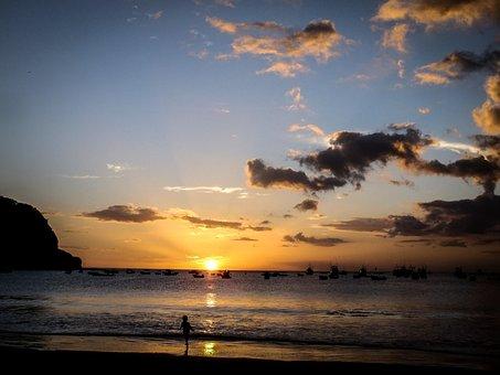 Sunset, Beach, Sea, The Sun, Holidays, Relaxation