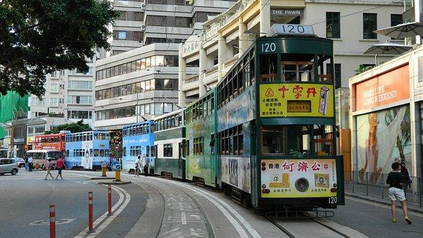 Hongkong, Tram, Vintage, Asia, Hong, Kong, Tourism
