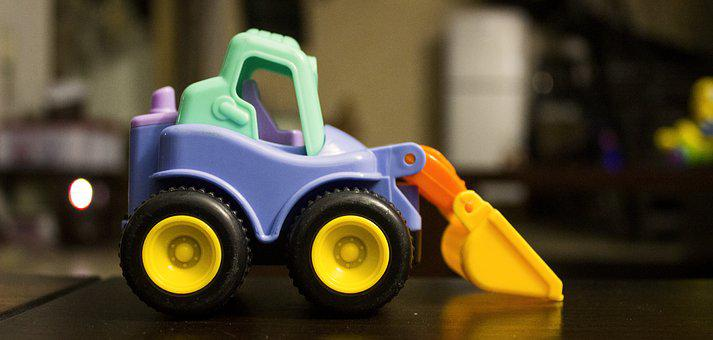 Toys, Baby, Excavator, Children, Colorful, Yellow, Blue