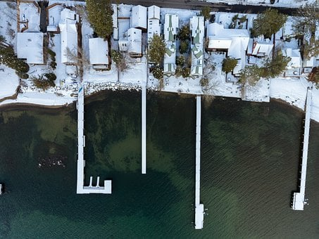 Drone, Lake, Pier, Snow, Winter, Water, Aerial, Travel