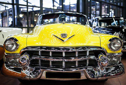 Yellow, Car, Vehicle, Transportation, Old, Antique, On