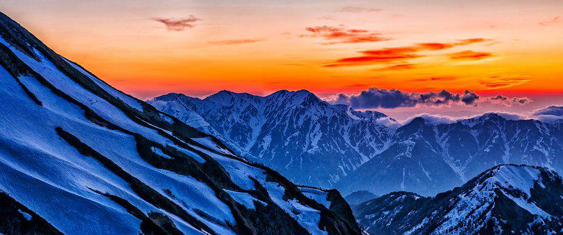 At Dusk, Snow, 毛勝 Three, Northern Alps