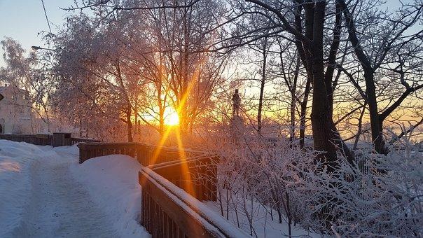 Anchorage, Sunset, Winter, Snow, Beauty