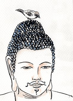 Painting, The Buddha, Bird
