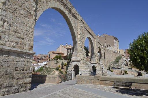 Aqueduct, Bridge, City, Medieval Architecture