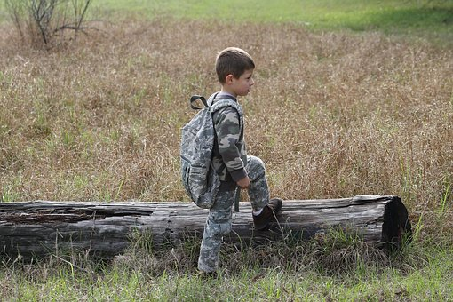 Boy, Nature, Camouflage, Hiking, Child, Outdoor, Grass
