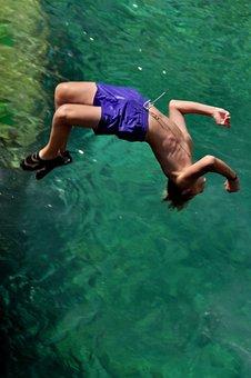Cliff Jump, Jump, Leisure, Swim, Venture, Nature, Rock