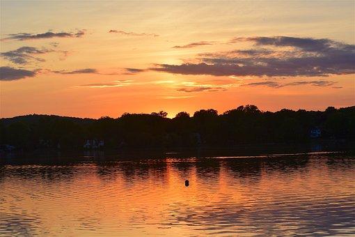 Sunset, Lake, Clouds, Sky, Orange, Reflection, Nature