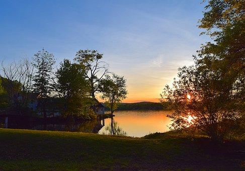 Sunset, Lake, Trees, Water, Sky, Nature, Landscape