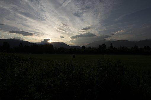 Sun, Evening, Sunset, Sky, Abendstimmung, Landscape