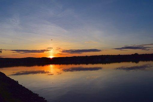 Sunset, Lake, Water, Sky, Reflection, Nature, Landscape