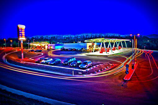 Petrol Stations, Sureal, Hdr, Red, Night, Atmosphere
