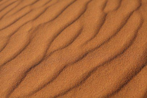 Sand, Desert, Stone, Pebble, Wind, Traces, Lines, Heiss