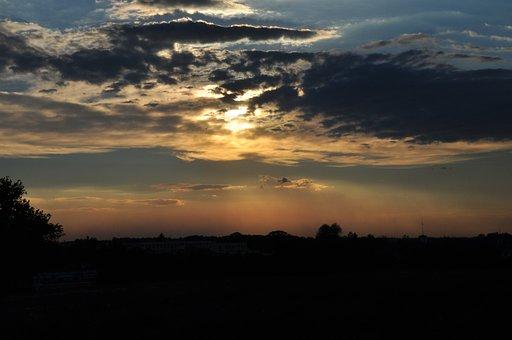 Sunset, City, Evening, Sky
