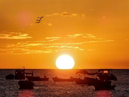 Beach, Sea, Boat, Sunset, The Coast, The Sun