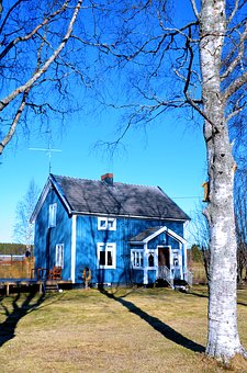 House, Ultervattnet, Shadows, Shadow, Himmel, Birch