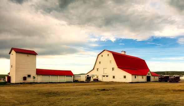 Wyoming, Ranch, Farm, Sky, Clouds, Sunset, Barn