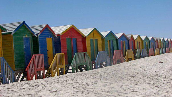 Beach, South Africa, Cabanas, Colorful