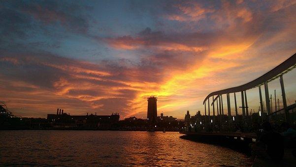 Barcelona, Spain, Sunset, Travel, Catalonia, Europe