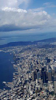 Airplane View, Urban, City, Aerial View, Buildings