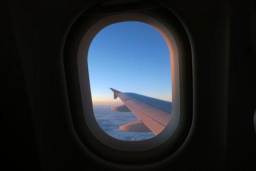 Fly, Aircraft, Window, Wing, Clouds, Sky, Flyer
