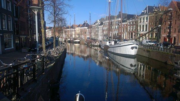 Groningen, Canal, Boats, Netherlands, Dutch, Water