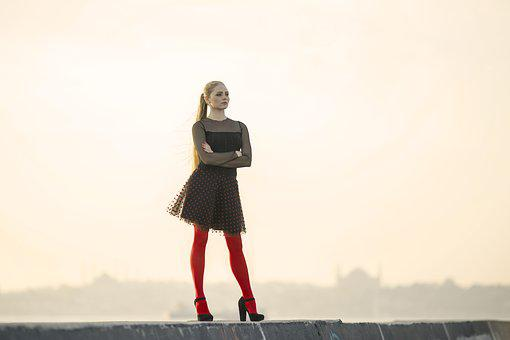 Red, Socks, Dress, Hair, Contact, Photography, People
