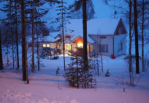 Snow, House, Finland, Lapland, Trees, Winter, Cold