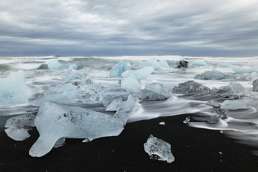 Iceland, Beach, Ice, Iceberg, Sea, Blue, Arctic