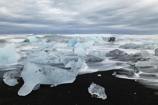 Iceland, Beach, Ice, Iceberg, Sea, Blue, Arctic