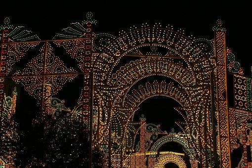 Night, Center, Winter, Lights, Building, Street, Style