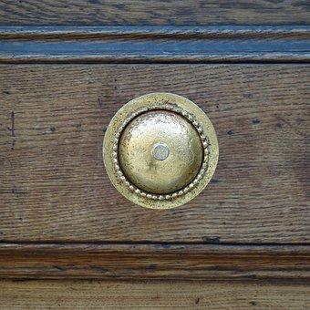 Fitting, Door, Bronze, Shiny, Metal, Wood, Old