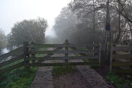 Fence, Fog, Polder, Grass, Mist, Air, Misty