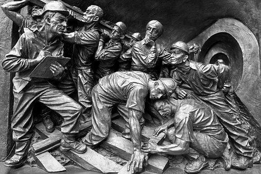 Miners, Art, Rock, Stone, Sculpture, Black And White