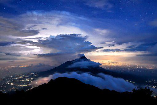 Merapi, Starry Sky, Thundercloud, City Lights
