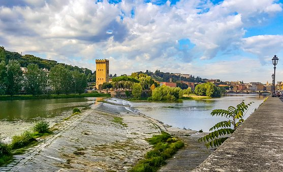 Florence, Arno, Firenze, River, Tower, Castle, Tuscany