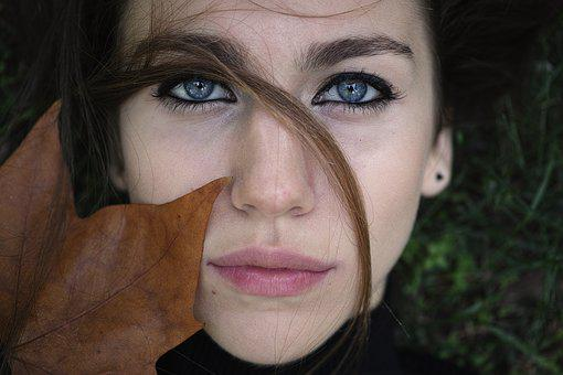 Model, Exposure, Leaves, Autumn, Eyes, Blue