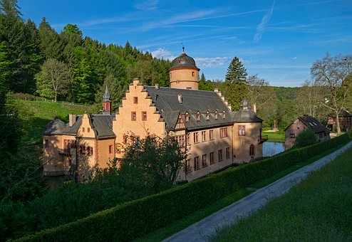 Castle, Mespelbrunn, Bavaria, Germany, Spessart