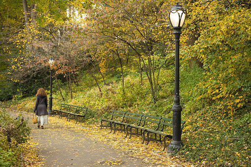Central Park, Nyc, Woman, America