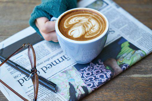 Coffee, Newspaper, Read, Take Notes, Note, Work