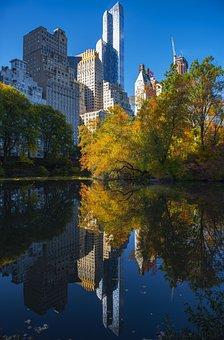 Central Park, Reflection, Autumn, Foliage, Park, Lake